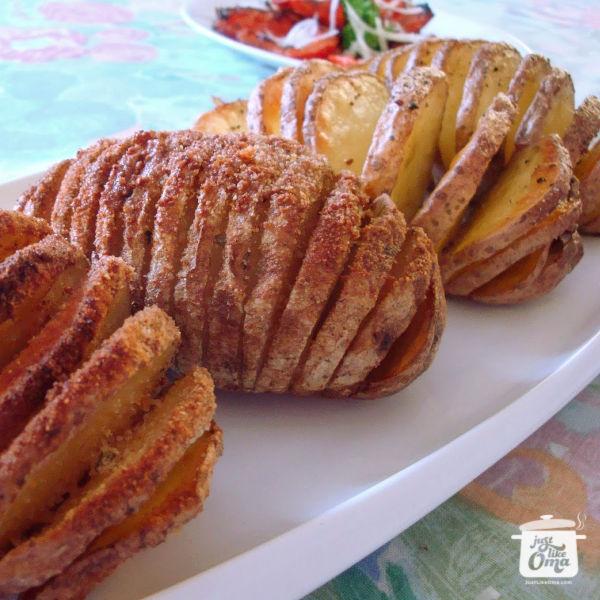 Oma's Hasselback Potatoes or Sweet Potatoes