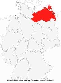 Map of Germany with Mecklenburg-Vorpommern