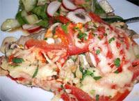 Tomato and Mushroom Gratin, Vegetarian - a traditional Auflauf