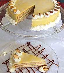 Hazelnut Torte - nut cake topped with marzipan
