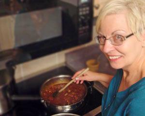 Gerhild in the kitchen