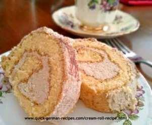 German Cake Recipe: Cream Roll with Buttercream filling