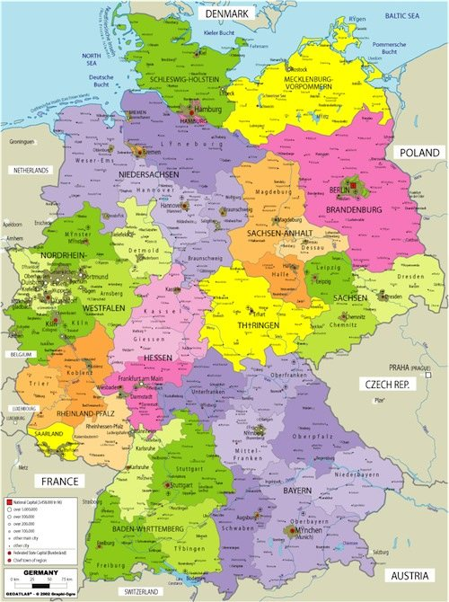 Map of Germany with political divisions