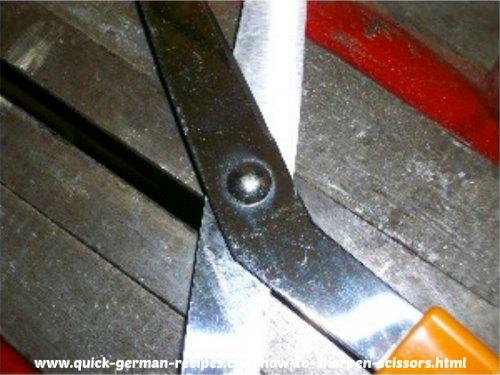 rivet hinged joint on scissors