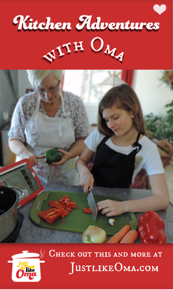 Lydia Fulson and Oma Gerhild Fulson busy in the kitchen.