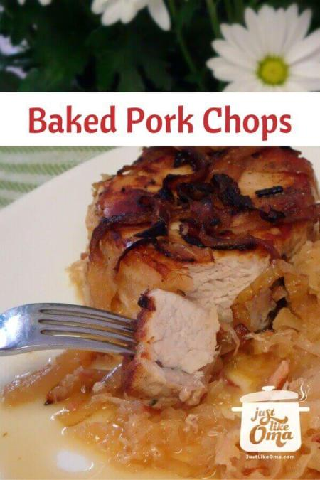 ❤️ Delicious Pork Chops and Sauerkraut, made in the oven.  https://www.quick-german-recipes.com/baked-pork-chop-recipe.html #porkchops #germanrecipes #justlikeoma