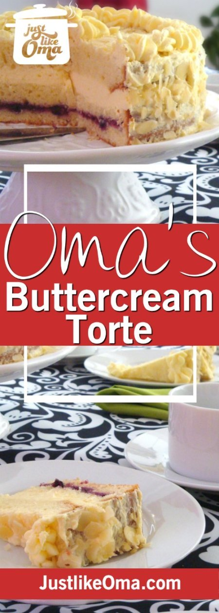 Wonderful German Pineapple Buttercream torte with easy Buttercream Frosting made just like Oma.