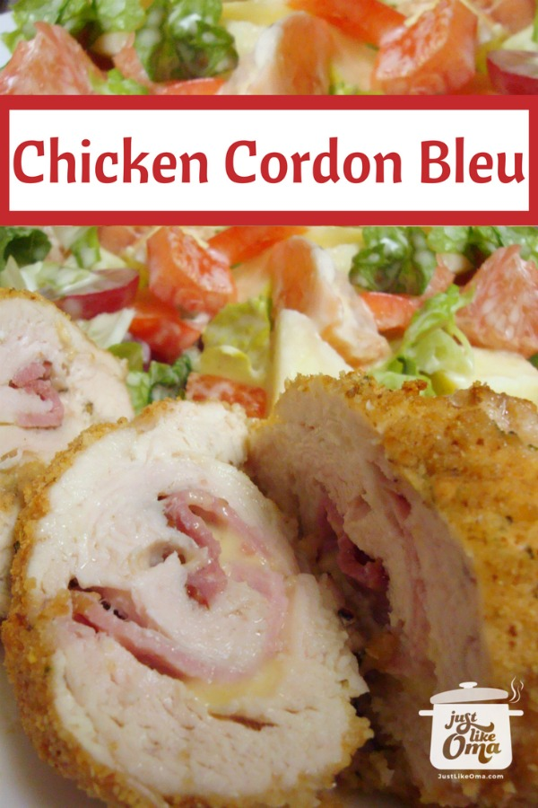 plate of chicken cordon bleu, sliced, with house salad as a side dish