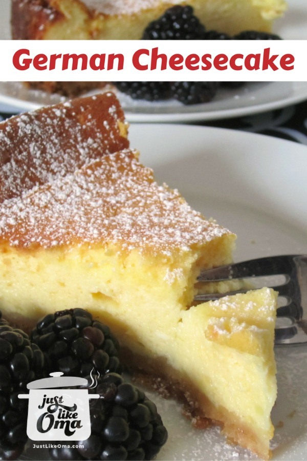 Delicious German cheesecake goes great with fresh blackberries!