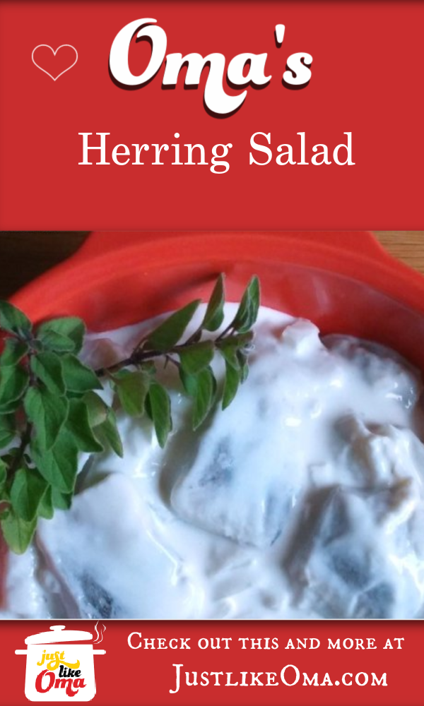 Herring Salad ... just the way Mutti used to make it! Garnished with sprigs of oregano.