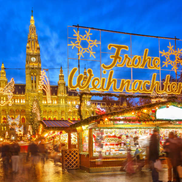 Old-fashioned German Christmas Market. ❤️Click on https://www.quick-german-recipes.com/celebrating-christmas-in-germany.html to get recipes and more!
