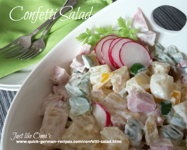 Confetti Salad - a type of potato salad, only more filling