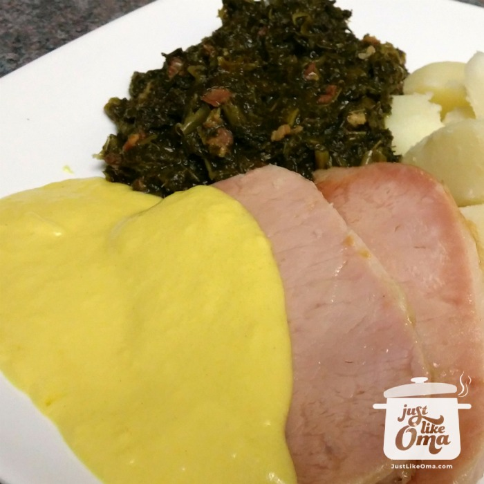 Leftover peameal bacon roast served with mustard sauce, kale, and potatoes. So good!