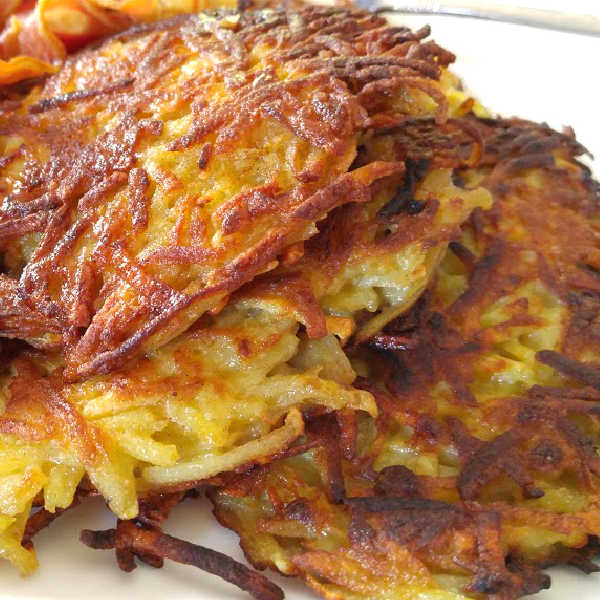 German potato pancakes, done the traditional way. SO GOOD! Serve sprinkled with sugar or with applesauce.