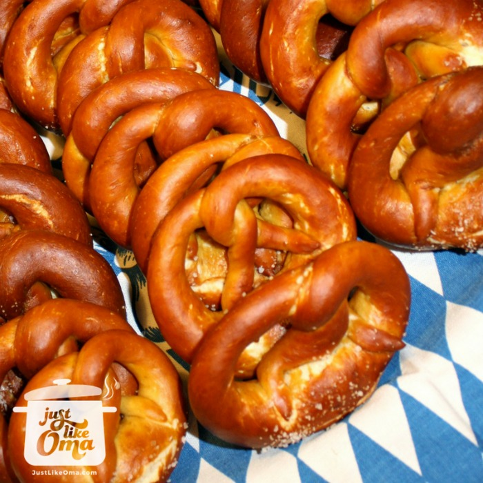 Andy's homemade pretzels displayed on blue and white Bavarian colors