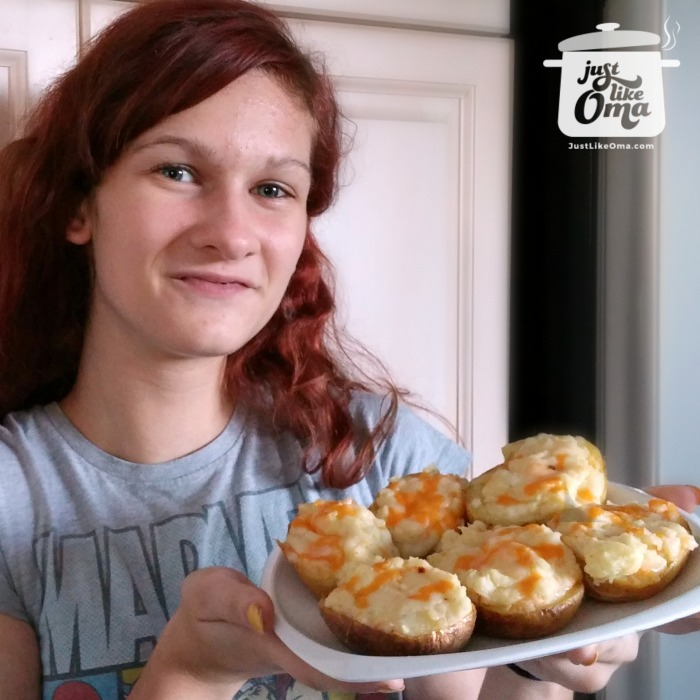 Lydia and her twice baked potatoes in my kitchen
