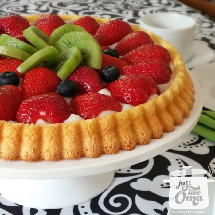 Traditional German Fruit Flan (Obsttorte) filled in many ways.
