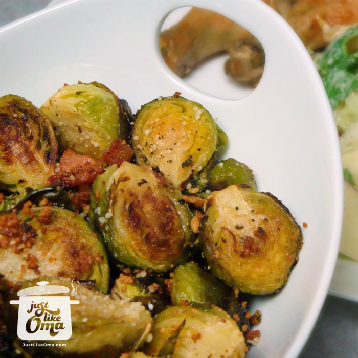 white owl of roasted Brussels sprouts with bacon