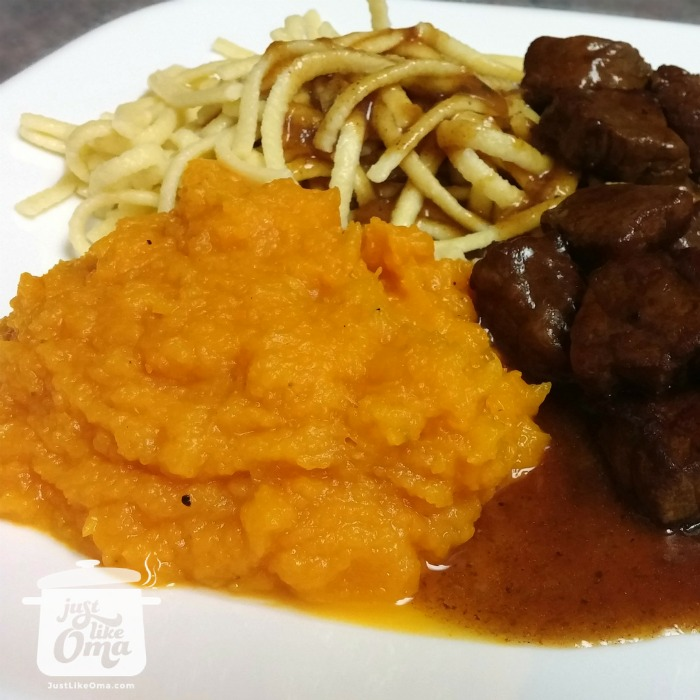 Roasted Butternut Squash served with German noodles and goulash.