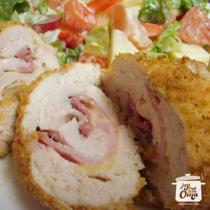 Chicken Cordon Bleu ... German-style! Yes ... check it out ... https://www.quick-german-recipes.com/chicken-cordon-bleu-recipe.html