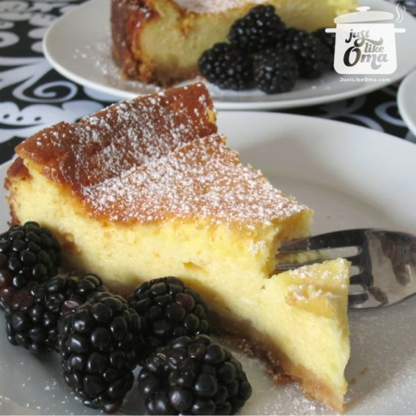 Delicious German Cheesecake goes great with fresh blackberries