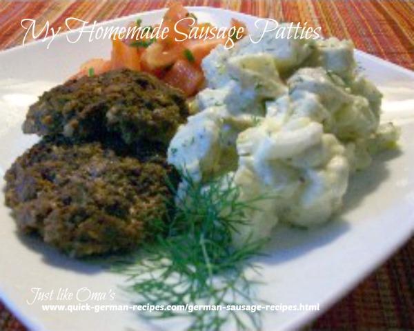 German sausage recipes: Homemade Sausage Patties