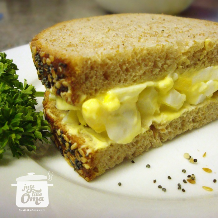Egg salad sandwich on whole grain bread
