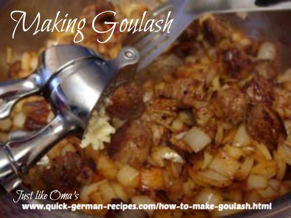 making traditional German goulash