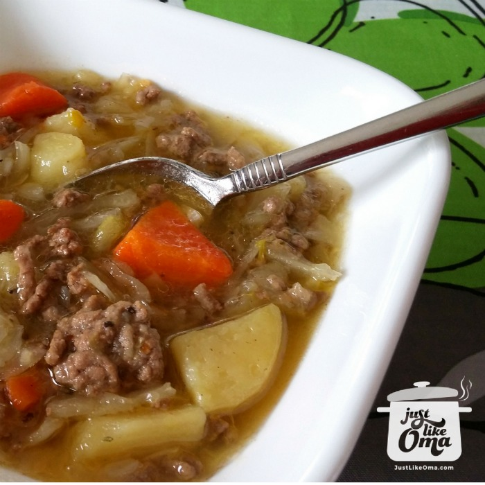 German Potato and Cabbage Soup perfect any time of the year.
