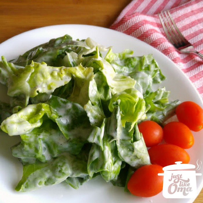 Fresh salad, German-style with a sour cream salad dressing