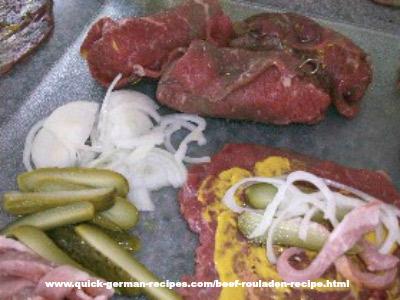 Making German beef rouladen