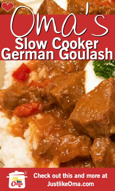 Anna's German Goulash made in a slow cooker! Made, just like Oma.  Recipe: https://www.quick-german-recipes.com/german-goulash.html #goulash #germanrecipe #justlikeoma #slowcooker