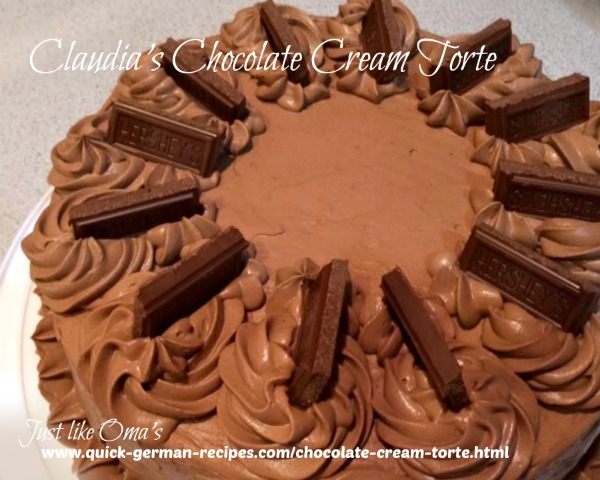 Most shared German Chocolate Cream Torte! Check out https://www.quick-german-recipes.com/chocolate-cream-torte.html