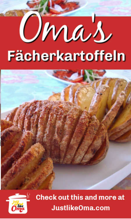 ❤️ Fächerkartoffeln aka Hasselback potatoes using either regular or sweet potatoes  https://www.quick-german-recipes.com/hasselback-potatoes.html #hasselbackpotatoes #fächerkartoffeln  #justlikeoma