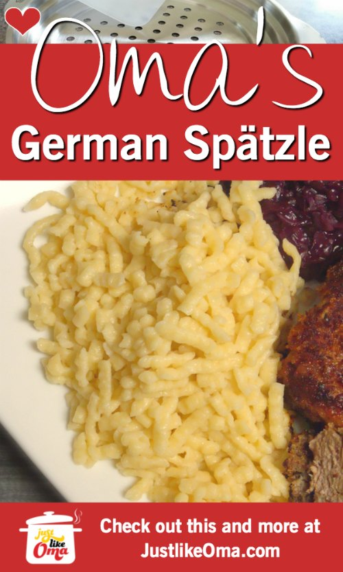 ❤️ Oma's German Spätzle recipe, homemade and delicious.  Check out https://www.quick-german-recipes.com/german-spaetzle-recipe.html #spätzle #germanrecipe #justlikeoma #noodles