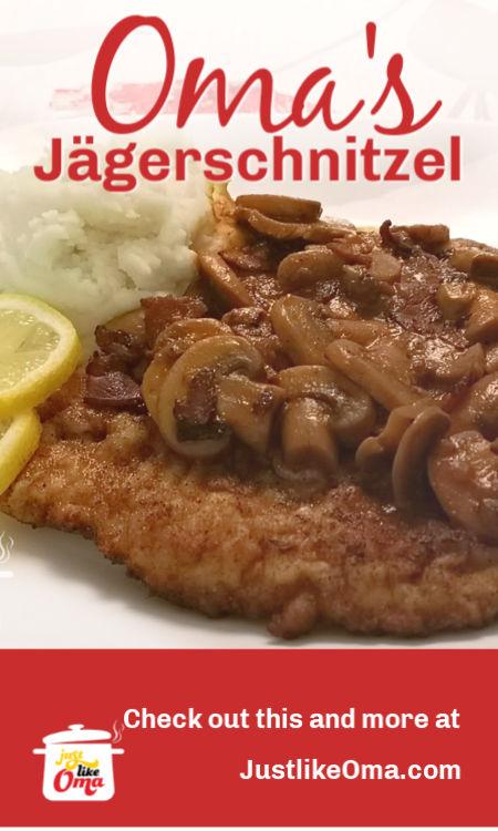 Oma's German Pork Schnitzel served with Jäger Sauce (Hunter's Sauce)