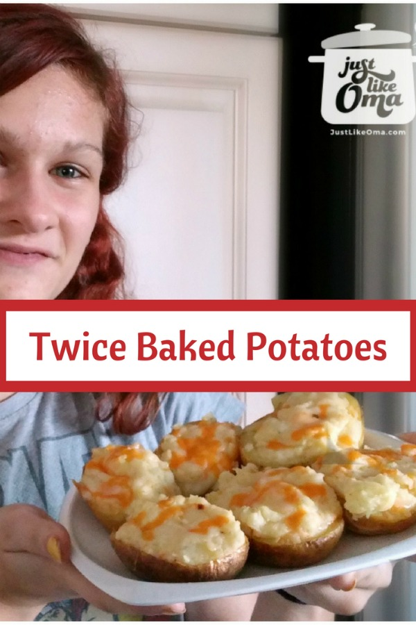 Lydia and her twice baked cheese topped baked potatoes