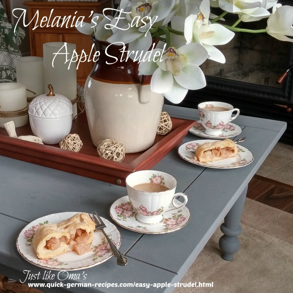 Coffee and apple strudel served elegantly on a newly chalk painted living room table, decorated with tablescape. Recipe at https://www.quick-german-recipes.com/easy-apple-strudel.html