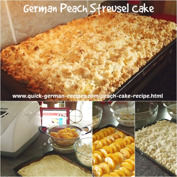 Here's an easy yeast cake to make using plums, peaches, whatever fruit you wish  ❤️ #peachcake #germanrecipes #justlikeoma #germancake https://www.quick-german-recipes.com/peach-cake-recipe.html