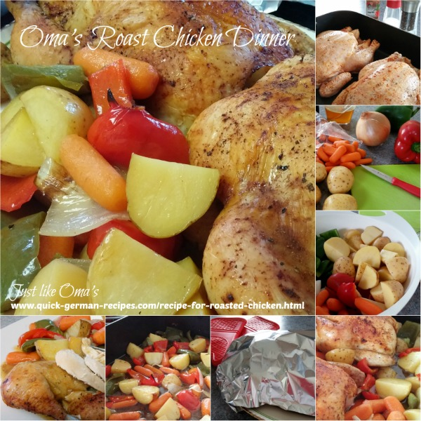 Collage showing how to make a Roast Chicken Dinner with roasted vegetables