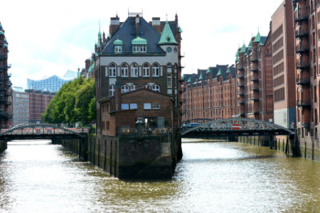 Speicherstadt! The water castle located alongside the port in Hamburg!