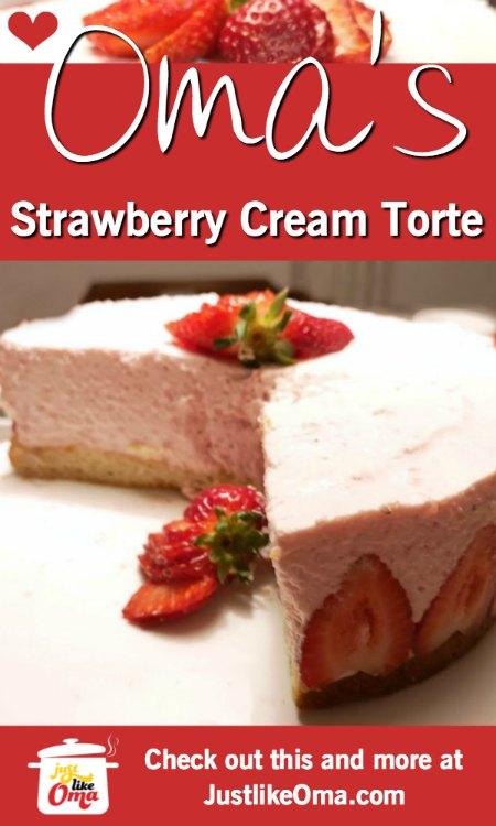 ❤️ Super impressive and super easy! Strawberry Cream Torte, made just like Oma! https://www.quick-german-recipes.com/strawberry-cream-torte.html #justlikeoma #germancake #strawberrycake