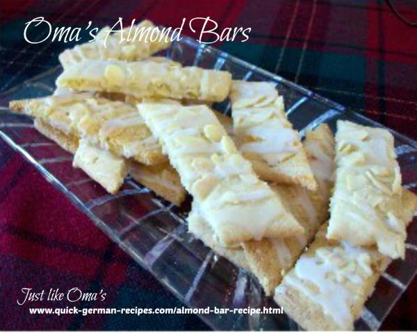 German Christmas Cookies: almond bars