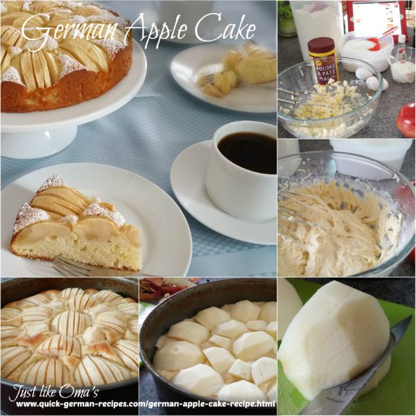How to make a traditional German apple cake showing step-by-step instructions.