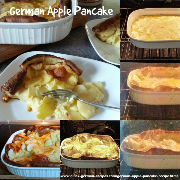 collage showing how to make a German Apple Pancake, with it raising in the oven just like an apple souffle pancake should!