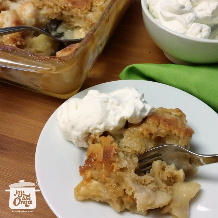 Apple Pudding Cake served with whipped cream