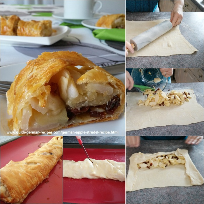 ❤️A super easy vegan German Apple Strudel recipe using frozen puff pastry. #applestrudel #germanrecipes #justlikeoma https://www.quick-german-recipes.com/german-apple-strudel-recipe.html