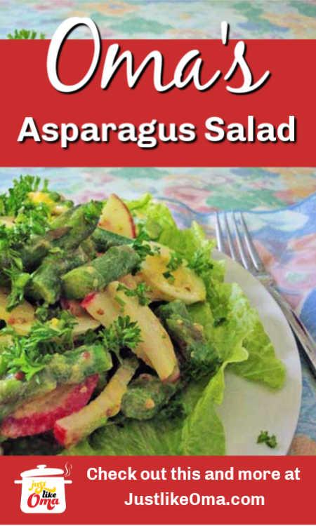 Asparagus salad is a wonderful side dish. German food at its best.