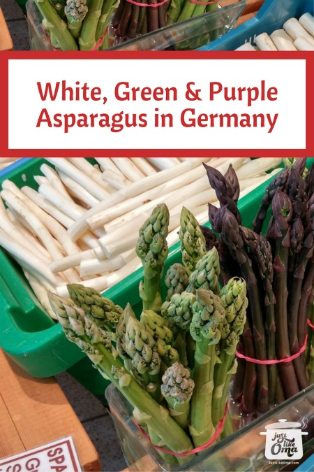 White, purple, and green asparagus is available in Germany