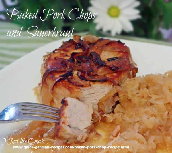 Baked Pork Chops with Sauerkraut - a family-pleaser